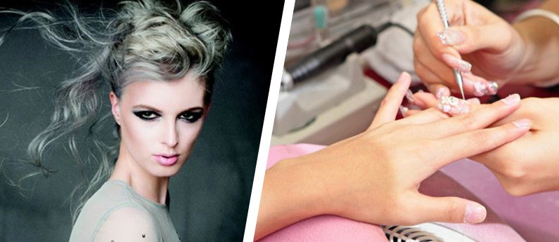 Split image showing Hair Design and and a Nail Technician working on a client's nails during the Program