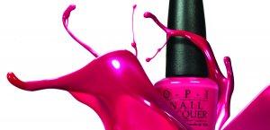 O P I nail polish in the color fuchsia